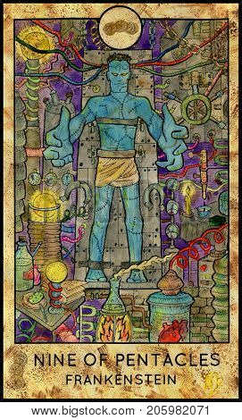 Laboratory monster. Nine of pentacles. Fantasy Creatures Tarot full deck. Minor arcana. Hand drawn graphic illustration, colorful painting with occult symbols. Halloween background