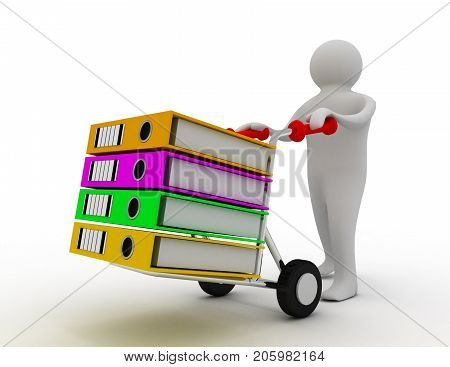 3d worker pushing a hand truck with files . 3d rendered illustration