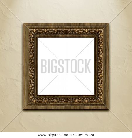 Baroque style picture frame on stucco wall.