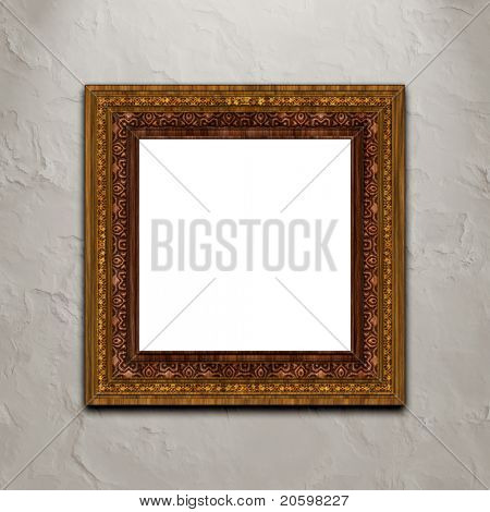 Baroque style picture frame on stucco wall...