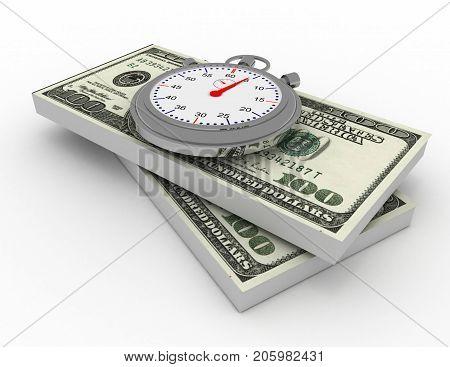 time is money . 3d rendered illustration