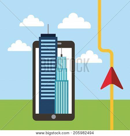 navigation road destination gps application online vector illustration