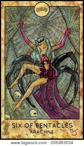 Arachne. Six of pentacles. Fantasy Creatures Tarot full deck. Minor arcana. Hand drawn graphic illustration, engraved colorful painting with occult symbols. Halloween background