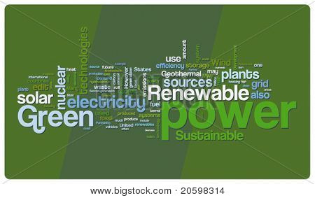 Green power word cloud illustration. Graphic tag collection.