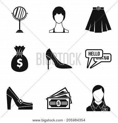 Escort icons set. Simple set of 9 escort vector icons for web isolated on white background