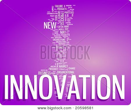 Innovation word cloud illustration. Graphic tag collection