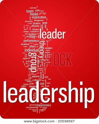 leadership word cloud illustration. Graphic tag collection