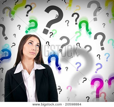 Businesswoman With Question Marks