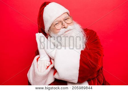 Bedding, Festive, Magic, Nap, Snooze, Rest Time. Holly Jolly X Mas! Funny Cheerful Saint Nicholas In