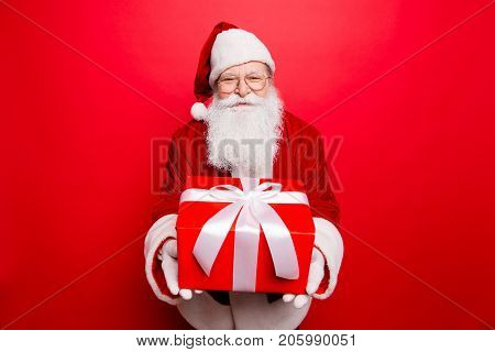 Holly Jolly X Mas! Festive Seosonal Occasion. Funny Saint Nicholas In Red Traditional Fur Coat Prese
