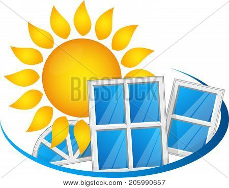 The sun and the windows that conserve the heat symbol