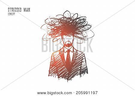 Stressed man concept. Hand drawn man in stress situation. Male person frustrated isolated vector illustration.