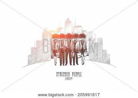 Stressed people concept. Hand drawn worried unhappy people. Office workers in stressed situation isolated vector illustration.