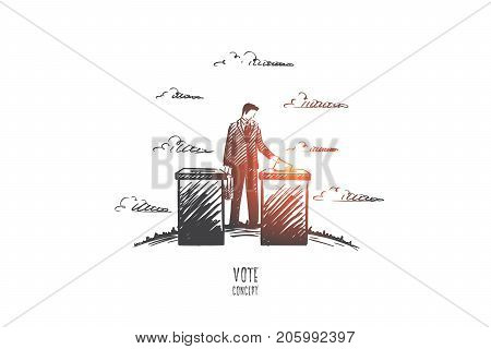 Vote concept. Hand drawn person voting. Process of elections isolated vector illustration.
