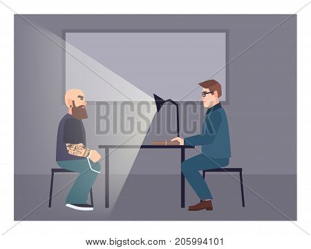 Suspect illuminated by table lamp sitting at desk in front of cop asking him questions. Interrogation process, examination procedure at police station. Flat cartoon characters. Vector illustration