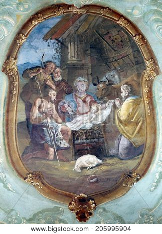 BELEC, CROATIA - NOVEMBER 17: Nativity Scene, Adoration of the Shepherds, fresco on the ceiling of the Church of Our Lady of the Snow in Belec, Croatia on November 17, 2011.