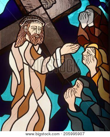 RIJEKA, CROATIA - JUNE 11: 7th Stations of the Cross, Jesus falls the second time, stained glass window in the church of St. John the Baptist in Rijeka, Croatia, on June 11, 2011