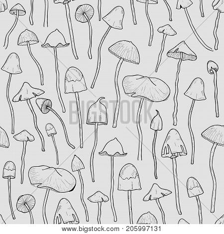 Seamless pattern with Psilocybin or hallucinogenic magic mushrooms hand drawn with contour lines on gray background. Modern vector illustration in monochrome colors for textile print, backdrop