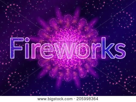Holiday Background with Bright Lilac Firework on Black, Color Element for Web Design. Eps10, Contains Transparencies. Vector