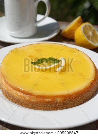 Lemon cheesecake decorated with lemon slices