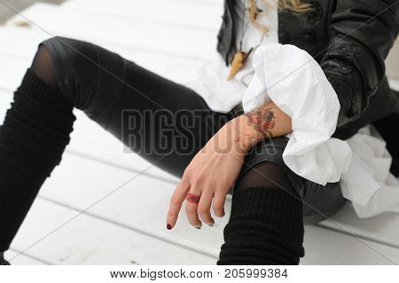 Fashion woman autumn outfit, baroque, vamp style, wrist tattoo