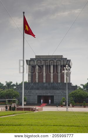 ho Chi Min mausoleum is a large memorial in downtown Hanoi surrounded by Ba Dinh Square. It houses the embalmed body of former Vietnamese leader president Ho Chi Minh