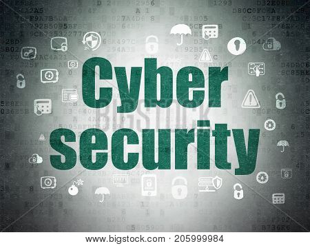 Security concept: Painted green text Cyber Security on Digital Data Paper background with  Hand Drawn Security Icons