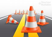 Road with under construction traffic cones. Vector illustration poster
