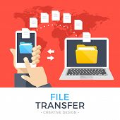 File transfer. Hand holding smartphone with folder on screen and documents transferred to laptop. Copy files, backup, file sharing concepts. Modern flat design graphic elements. Vector illustration poster