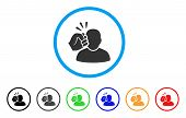 Crime Violation Fist Strike rounded icon. Style is a flat crime violation fist strike gray symbol inside light blue circle with black, gray, green, blue, red, orange variants. poster