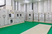 Electrical energy distribution substation in a new factory plant, Industrial electrical switch panel poster