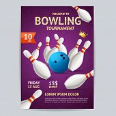 Bowling Tournament Poster Card Template Sport Theme Strike. Vector illustration of Bowling Hobby or Sport Game Booklet poster