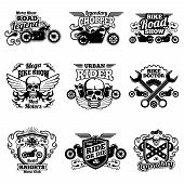 Motorbike club vintage vector patches. Motorcycle racing labels and emblems. Motorcycle emblem club classic, vintage chopper illustration poster