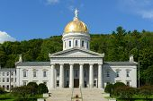 Vermont State House, Montpelier, Vermont, USA. Vermont State House is Greek Revival style built in 1859. poster