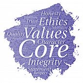 Conceptual core values integrity ethics paint brush concept word cloud isolated background. Collage of honesty quality trust, statement, character, perseverance, respect and trustworthy poster