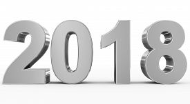 Year 2018 Silver 3D Numbers Isolated On White