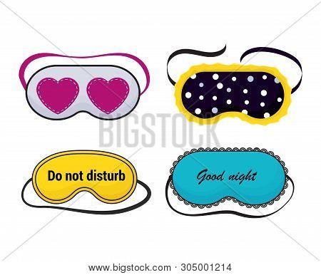 Eye Mask Vector Sleeping Night Accessory Relax Resst In Traveling Illustration Set Of Face Sleepy Pr