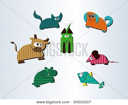 Collection of seven cute farm and pet animals