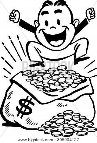 Happy Man With Jackpot - Retro Clip Art Illustration
