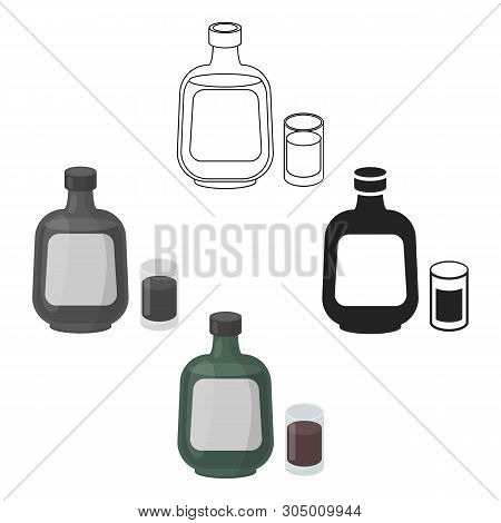Herbal Liqueur Icon In Cartoon, Black Style Isolated On White Background. Alcohol Symbol Stock Vecto