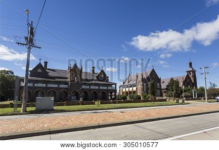 Glen Innes, Australia - April 12, 2019: View Of The Religious And Educational Complex With The Colle