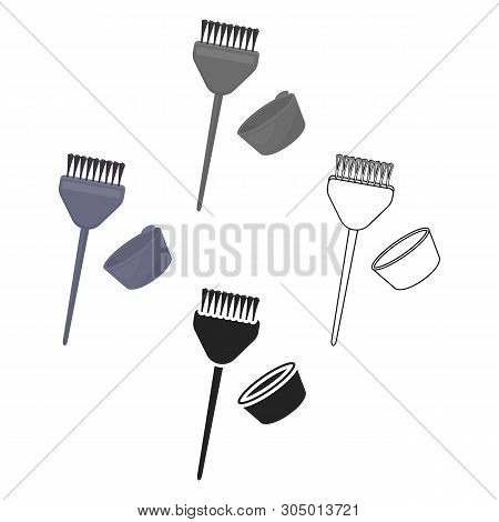 Hair Coloring Brush Icon In Cartoon, Black Style Isolated On White Background. Hairdressery Symbol S