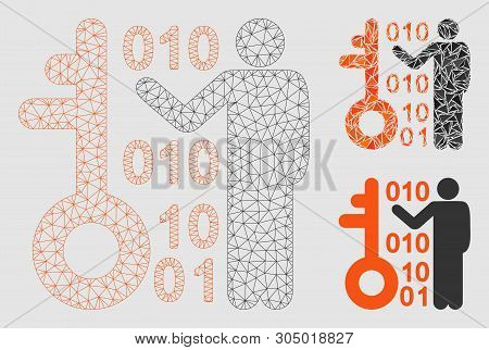 Mesh Decode Key Model With Triangle Mosaic Icon. Wire Carcass Triangular Mesh Of Decode Key. Vector