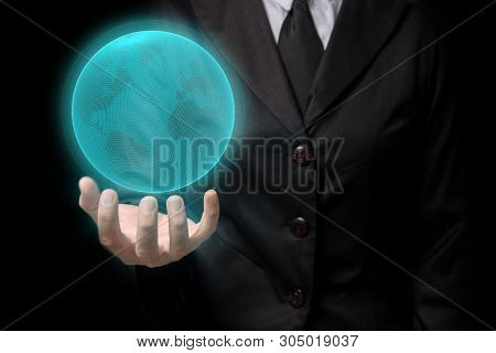 Global Communication Businessman Holding Digital Tactile World In His Hand 3d Rendering. A Glowing,