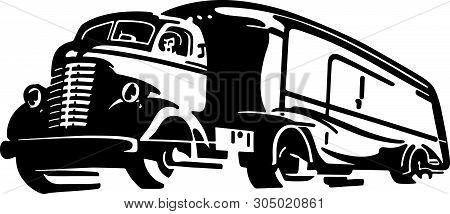 Semi Truck - Retro Clip Art Illustration For Transportation