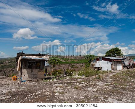 Mountain Shacks, The One To The Left Is A Shop, At A Dry Mountain Landscape In Maasim, Sarangani Pro