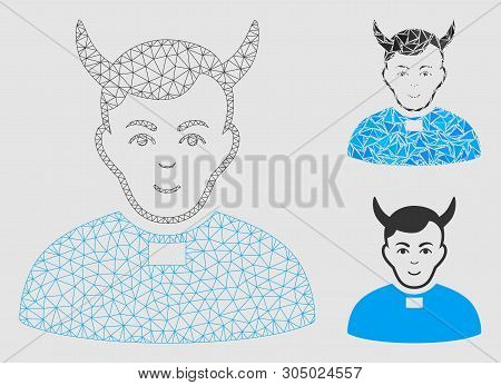 Mesh Devil Priest Model With Triangle Mosaic Icon. Wire Frame Triangular Network Of Devil Priest. Ve