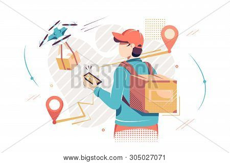 Flat Isolated Man With Mobile Phone With Digital Map And Drone Delivery. Concept Employee Character