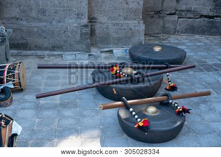 Ceremonial Drums At The Cremation Ceremony In Legian  Beach
