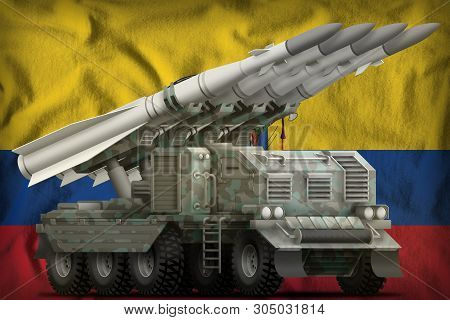 Tactical Short Range Ballistic Missile With Arctic Camouflage On The Ecuador Flag Background. 3d Ill